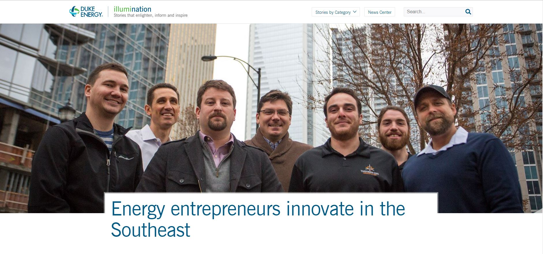 Image of TGA team on cover of Duke Energy's article