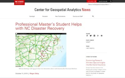 NCSU Center for Geospatial Analytics Web Article