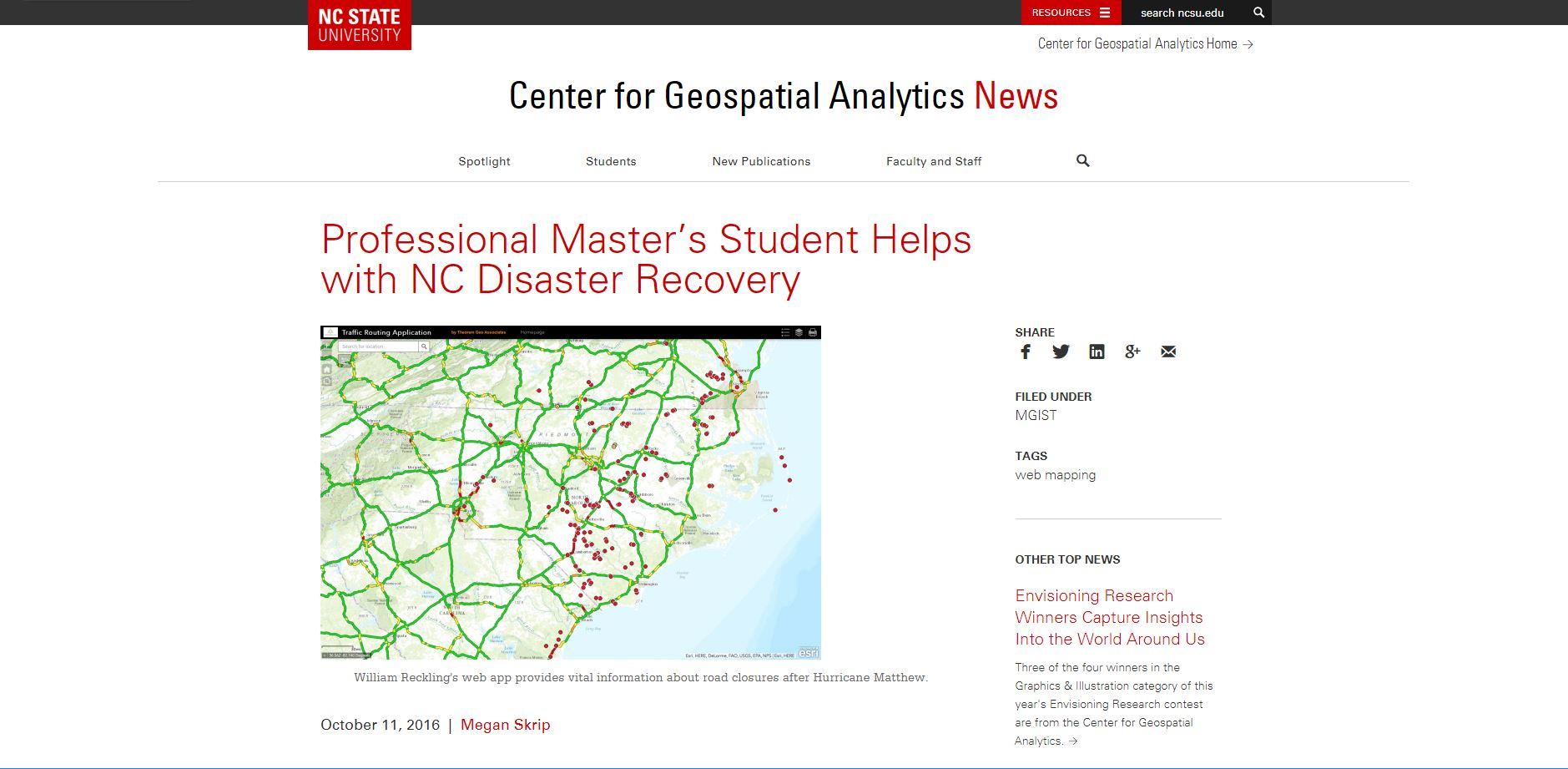 Image of NCSU's web article