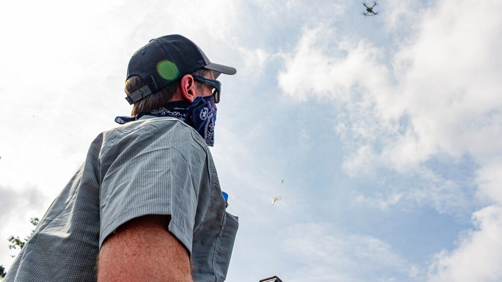 Will Reckling pilots a drone custom-equipped to sample water.