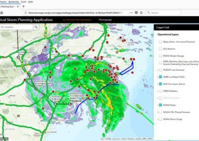 Screenshot of application being used during Hurricane Florence