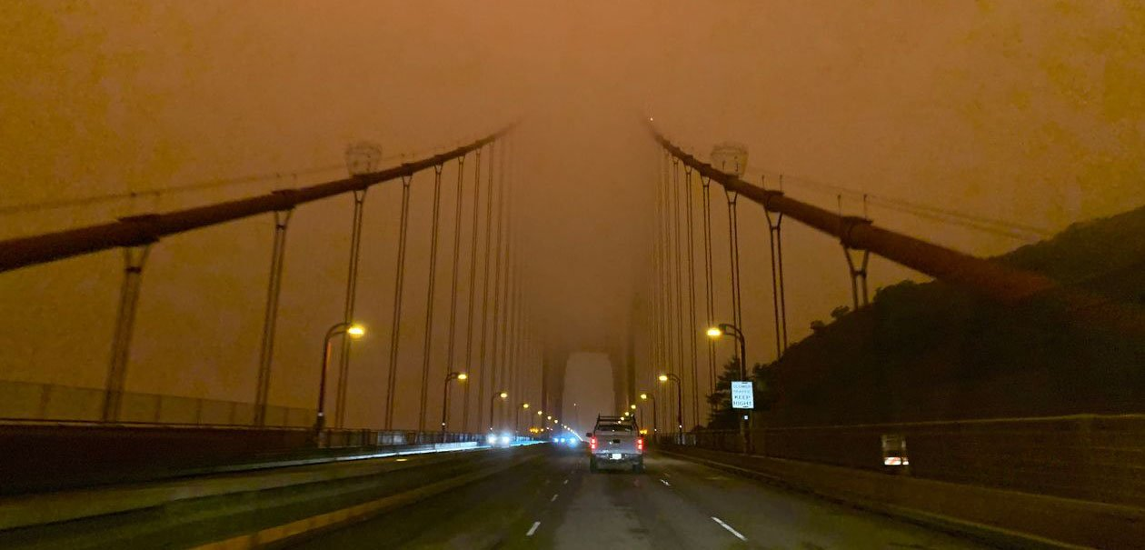 The Golden Gate Bridge blanketed in smoke..